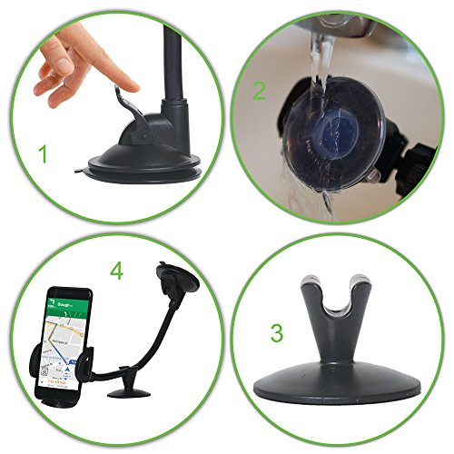 CAR Mount Cell Phone Holder, 13 Inches Long Arm with Anti-skid Base with Strong Suction model 2018 for iPhone 8P/8/7/7P/6s/6P/5S, Galaxy S5/S6/S7/S8, Google, LG, Huawei and More by Comano (Image #2)