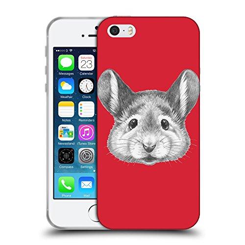 GoGoMobile Coque de Protection TPU Silicone Case pour // Q05410601 Souris portrait Alizarine // Apple iPhone 5 5S 5G SE