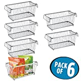 mDesign Household Stackable Wire Storage Organizer Bin Basket with Built-In Handles for Kitchen Cabinets, Pantry, Closets, Bedrooms, Bathrooms – 12'', Pack of 6, Steel in Durable Silver Finish