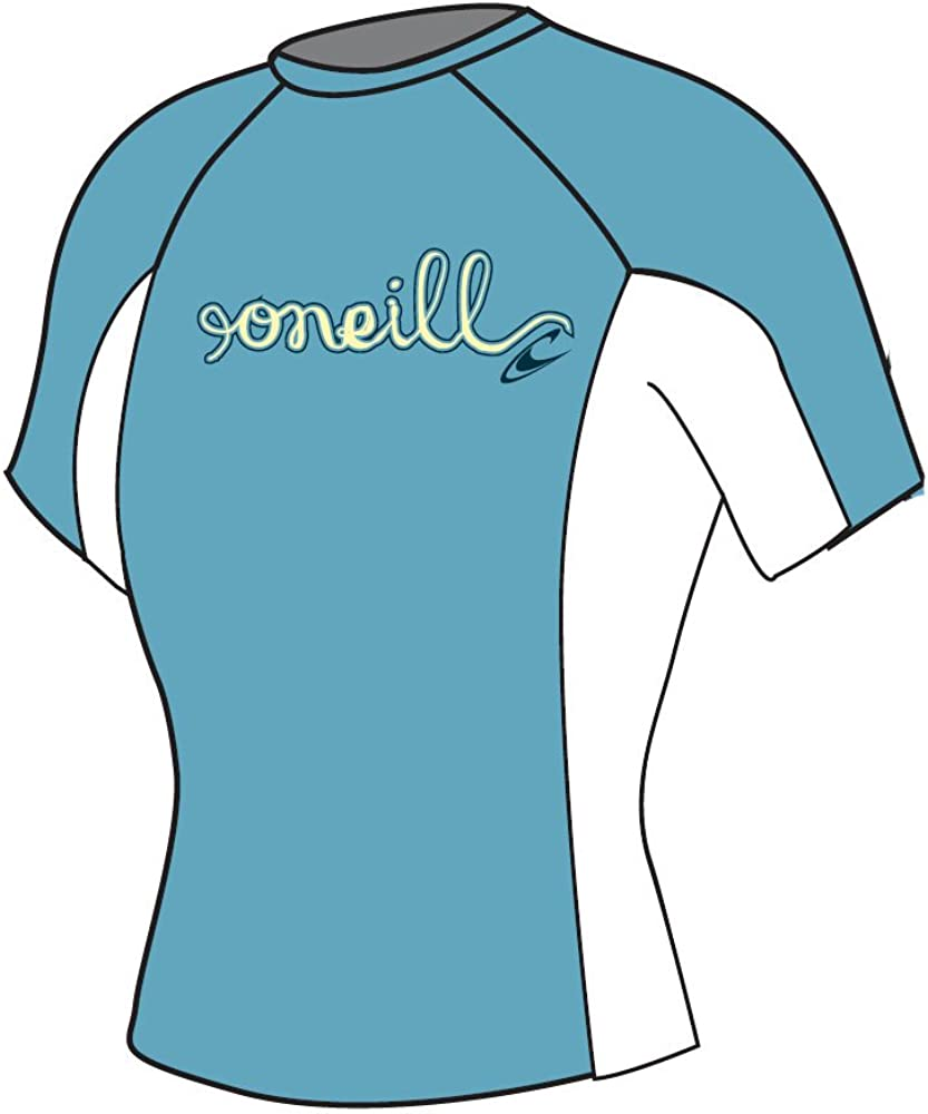 O'neill wetsuits Girls Skins Crew Rash Vest Age 12 S//S New 4175 Green//Graph//Gree