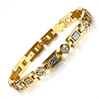 Titanium Steel Golf Magnetic Therapy Bracelets for Women Rhinestone Health WristBand with 3 Smart Buckle