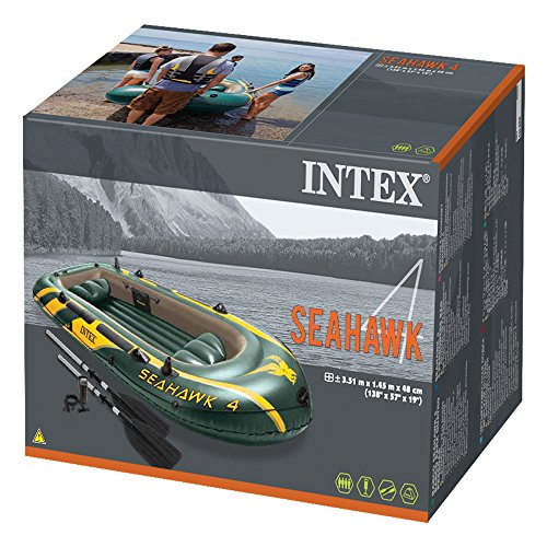 Intex Seahawk 4, 4-Person Inflatable Boat Set with Aluminum Oars and High Output Air Pump (Latest Model) by Intex (Image #4)