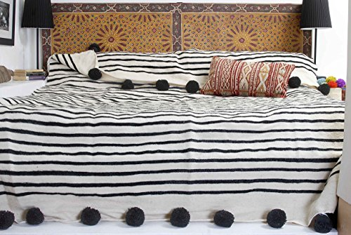 Moroccan Pom Pom Blanket Throw Bedspread, Hand woven with Pure Organic Hand Spun Wool, Cozy Warm Bedding, Ivory White & Black. (BW1)