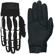 Hot Leathers Skeleton Mechanic Gloves (Black, Small)