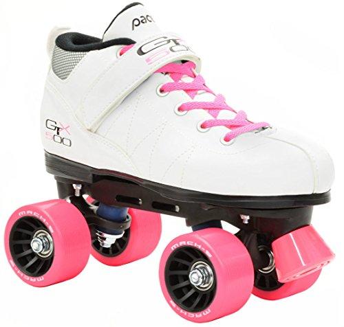 Pacer Mach-5 White Pink Speed Skates – Mach5 GTX500 Quad Roller Skates – Mens 10 Ladies 11