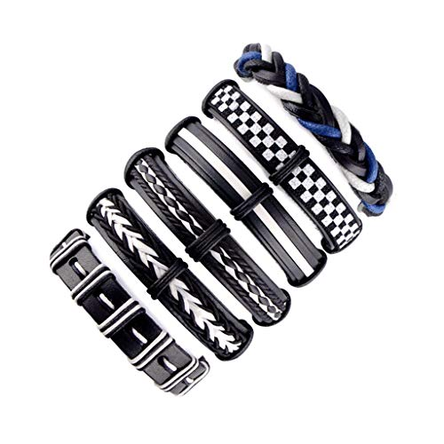 KARAY Leather Wrap Boho Bracelet Handmade Braided Bead Adjustable Layer Bracelet Set Cuff for Man Woman (E)