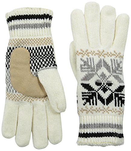 - Isotoner Women's Microluxe Split Snowflake Rayon Chenille Glove with Suede Palm Patch, Ivory, One Size