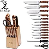 Cheap Elk Ridge Er929 Kitchen Knife Set With Wood Block & Sharpening Rod (9 Piece)
