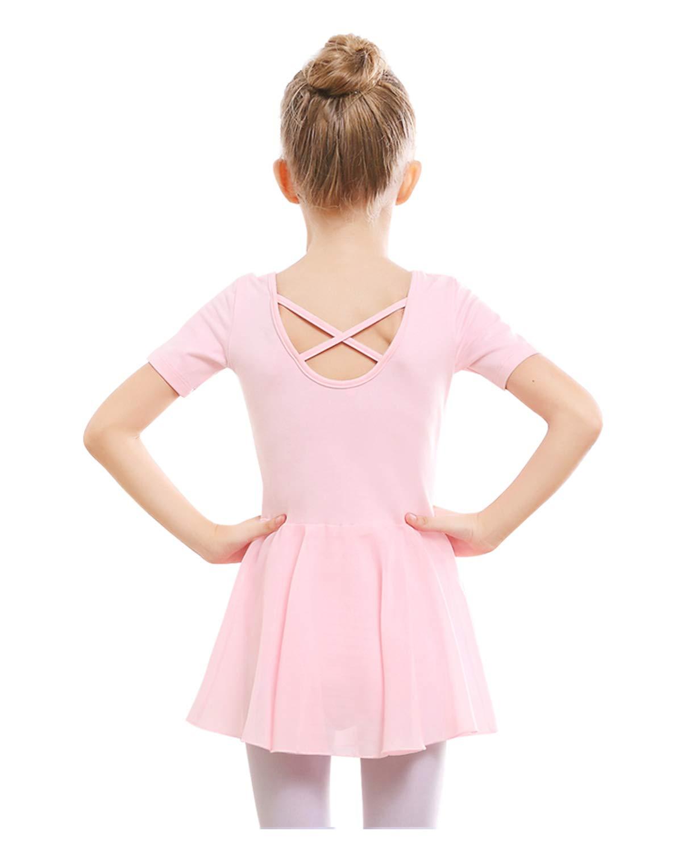 Stelle Girls Ballet Short Sleeve Dress Leotard For Dance Gymnastics 100cm Ballet Pink