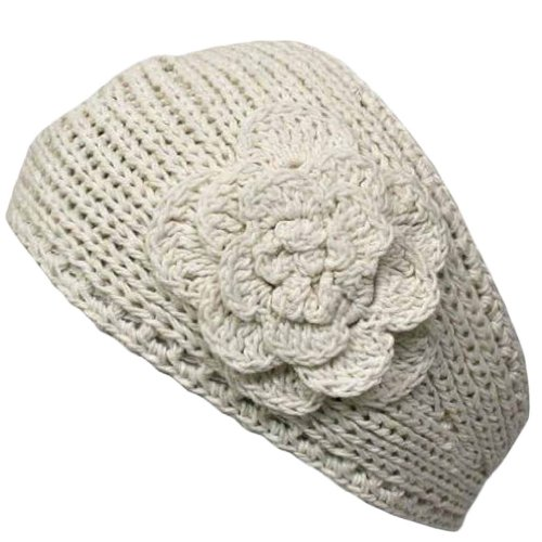 Luxury Divas Ivory Hand Made Knit Headband With Flower Detail