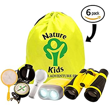 Exploration Kit for Kids - Children's Outdoor Toy Binocular, Flashlight, Compass, Magnifying Glass, Butterfly Net & Backpack. Great Kids Gift for Outside, Camping, Hiking, Educational & Pretend Play