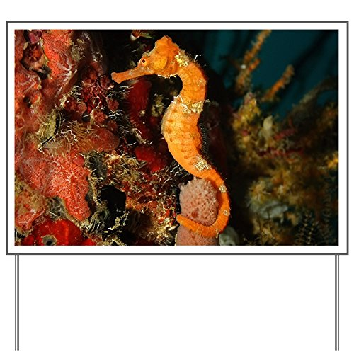 Yard Sign Seahorse Holding Coral