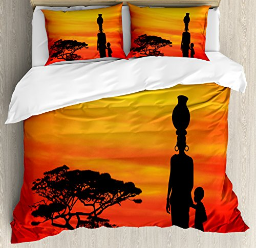 Ambesonne African Woman Duvet Cover Set Queen Size, Rural Countryside Landscape Mother and Child at Sunset Acacia Tree, Decorative 3 Piece Bedding Set with 2 Pillow Shams, Yellow Scarlet Black