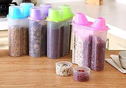 Dealglad® de plástico doble, diseño de celosía de alimentos grano harina de cereales caja