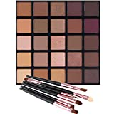 Matte and Shimmer Eyeshadow Palette, Vodisa 25 Smoky Warm Color Eye Shadows Glitter Makeup Kit Make Up Brushes Set Nature Nude Earth Tone Waterproof Beauty Cosmetics High Pigment Powder Pallet (25B)