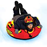 Swim Time Rush Durable Inflatable Snow Tube with Molded Bottom and Double-Webbed Foam Handles with Knuckle Guards