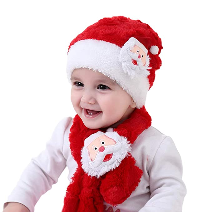 4537aa3c78e6 Adeeing Baby s Fleeced Christmas Santa Plush Scarf with Cap Suit Cute  Cartoon Muffler Hat (Red