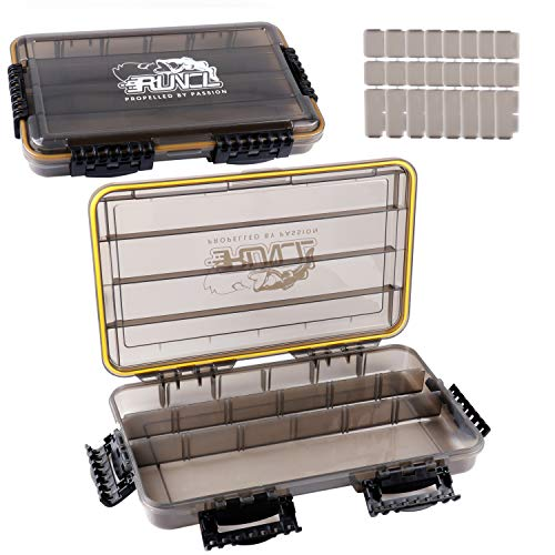 """RUNCL Fishing Tackle Box, Waterproof Storage 14"""" L x 8.65"""" W x 2.15"""" H - Thicker Frame, 360° Waterproof Seal, Secure-Locking Latches, Sun Protection, Removable Dividers - Storage Organizer (Pack of 2)"""