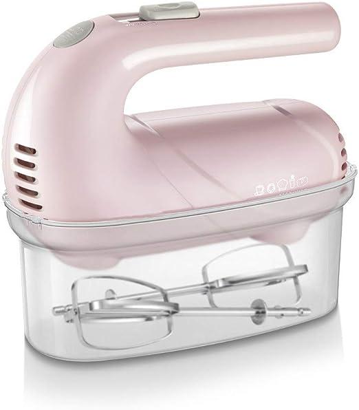 Batidora de mano Batidor con batidor de cromo de 125 vatios, batidora de pastel de comida de mano, estante de almacenamiento 5 configuraciones de velocidad, puede hacer mousse, mezclas cremosas, Pink: Amazon.es
