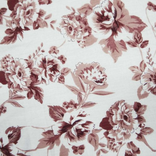 """White Cotton Fabric Voile 44"""" Wd Toile Print Quilt Bedspread Art By The Yard"""