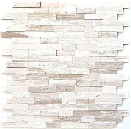 Piastrelle Autoadesive A Mosaico In Marmo Naturale Grigio Bianco