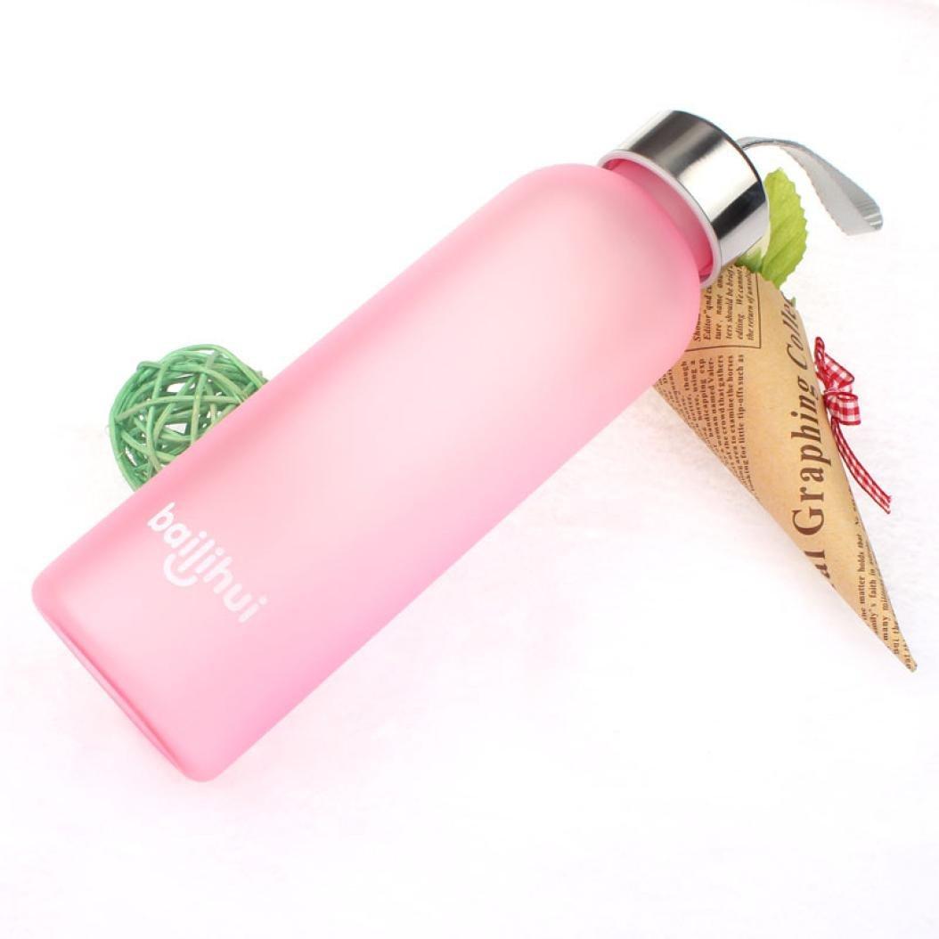 Coromose New Leak Tight Fruit Juice Sport Portable Travel Bottle Water Cup 600ML (Pink)