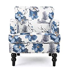 Farmhouse Accent Chairs Christopher Knight Home Boaz Fabric Club Chair, Floral Print farmhouse accent chairs