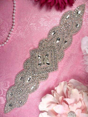 XR205 Bridal Sash Applique Silver Beaded Crystal Clear Glass Rhinestone 13.5'' by GL Appliques