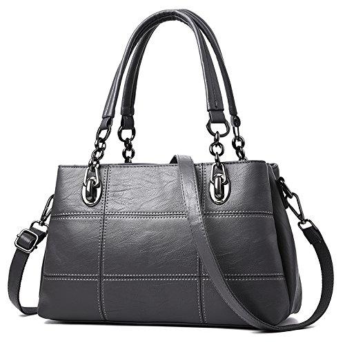 OME&QIUMEI Bulk Bag Bolso Bolso Bolsa De Dama Gris Plata Silver gray