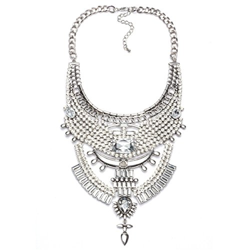 Lanue Vintage Chunky Punk Tribal Necklace Statement Bib Plated Alloy Boho Choker Necklace Bohemian Jewelry (Silver)