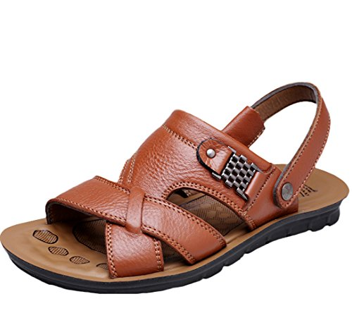 Mordenmiss Mens Summer New Leather Beach Slippers Sandals Mm11 Yellish Brown bbbgM