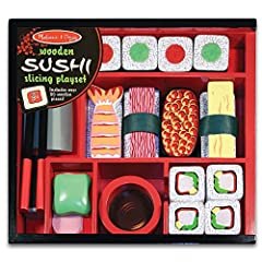 Add wasabi, if you like! This elegant 24-piece wooden sushi set is packed in a beautiful storage box and includes sliceable sushi rolls, shrimp, tuna, easy-use chopsticks, a cleaver and more! Sushi rolls make realistic chopping sounds when sl...