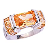 Psiroy 925 Sterling Silver Elegant Radiant-shape 3ct Morganite Gemstone Band Filled Ring for Women Size 8
