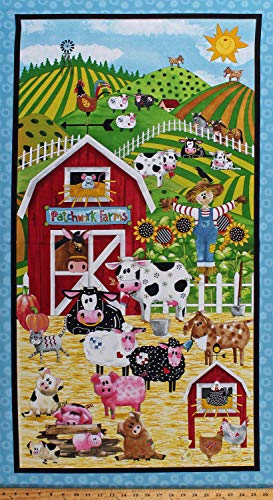 23.5 X 44 Panel Patchwork Farms Farm Animals Barn Cows Pigs Sheep Chickens Scarecrow Kids Farming Cotton Fabric Panel (D563.47)