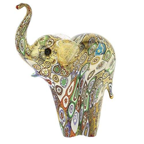 GlassOfVenice Murano Glass Golden Quilt Millefiori Elephant