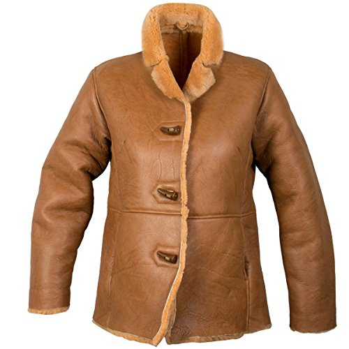 - Ladies Lucky Leather 0021S Rusty Brown Color Short Shearling Coat - Large