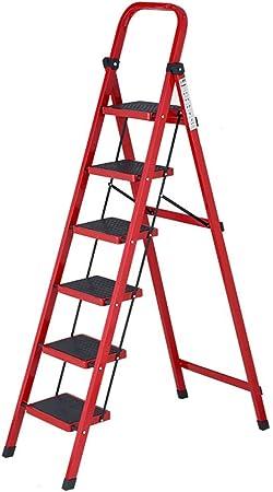 CHQYY Escalera de Espiga - Escaleras caseras Escalera multifunción Plegable de Acero al Carbono Escalera de 6 escalones (Color : Red): Amazon.es: Hogar