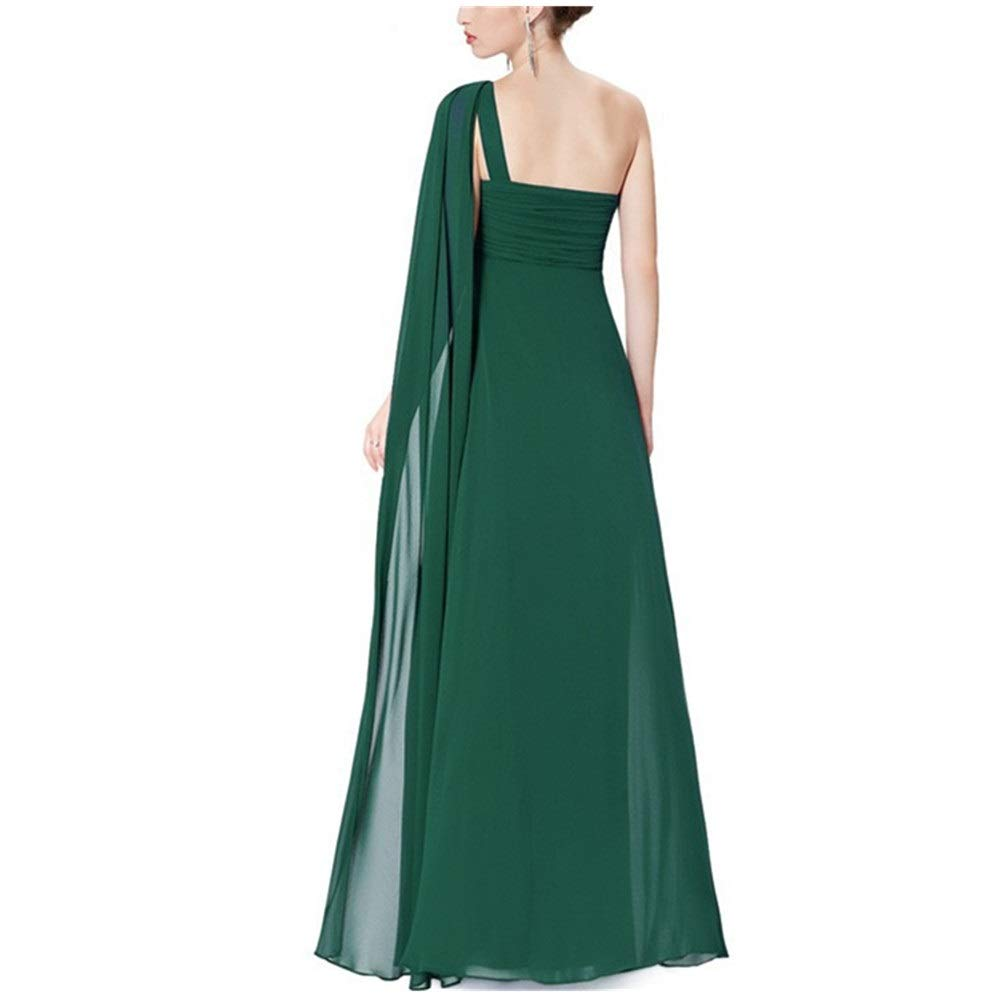 Green Women's Retro Long Skirt Womens Elegant One Shoulder Side Floor Length Evening Dress Lady Party Maxi Skirt Wedding Dress (color   Pink, Size   14)
