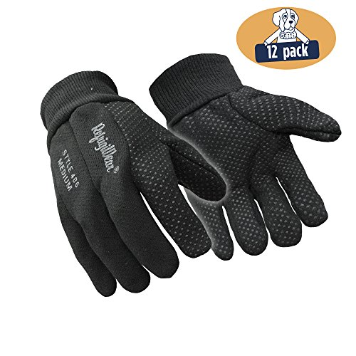 - RefrigiWear Premium Insulated Cotton Jersey Knit Work Gloves with PVC Dot Grip (Black, X-Large) - PACK OF 12 PAIRS
