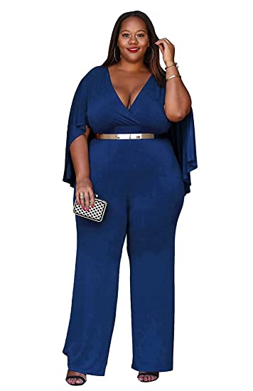 Amazoncom Mbrock Womens Plus Size Jumpsuit With Attached Flowing