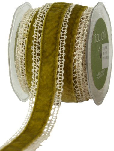 May Arts 1-1/2-Inch Wide Ribbon, Ivory Crochet with Sweet Pea Velvet ()