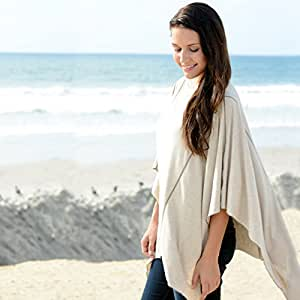 Nursing Covers by Dria 'The All-In-One Fashionable Nursing Cover, Stroller Cover, Car Seat Cover' - Made in USA from Premium Four Way Stretch and Breathable Modal Fabric (Solana Style: Natural Sand)