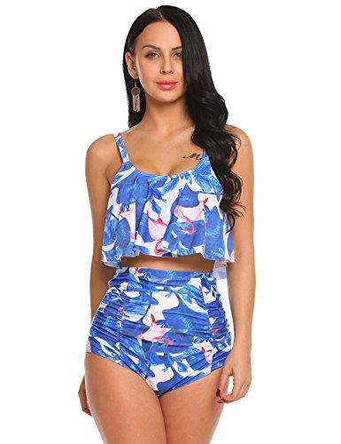29d0633ebfe ADOME Printed Falbala High Waisted Bikini Set Womens Tummy Control 2PC Bathing  Suit - Bikini Online Shop