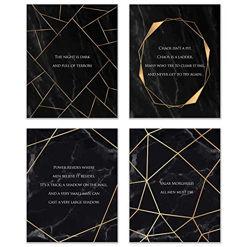 Game of Thrones Quote Prints - Set of 4 (8x10) A Song of Fire and Ice Iconic Wall Art Decor - Littlefinger Petyr Baelish - The Spider Lord Varys - Red Priestess Melisandre - Faceless Man Jaqen H'ghar -