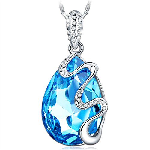 Qianse White Gold Plated Pendant Made with Teardrop Ocean Blue SWAROVSKI Elements Crystal