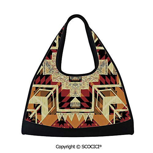 Table tennis bag,Native American Inspired Retro Aztec Pattern Mod Graphic Design Boho Art Print,Sports and Fitness Essentials(18.5x6.7x20 in) Red Orange Yellow