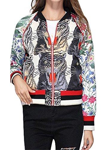(Womens Long Sleeve Tiger Floral Printed Zipper Thin Lightweight Bomber Coat Jackets)
