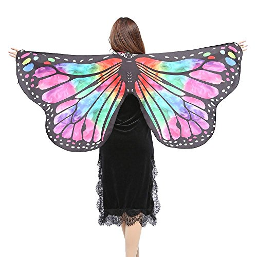 FORESTIME Women Butterfly Wings Shawl Scarves Ladies Nymph Pixie Poncho Costume Accessory (green, one)