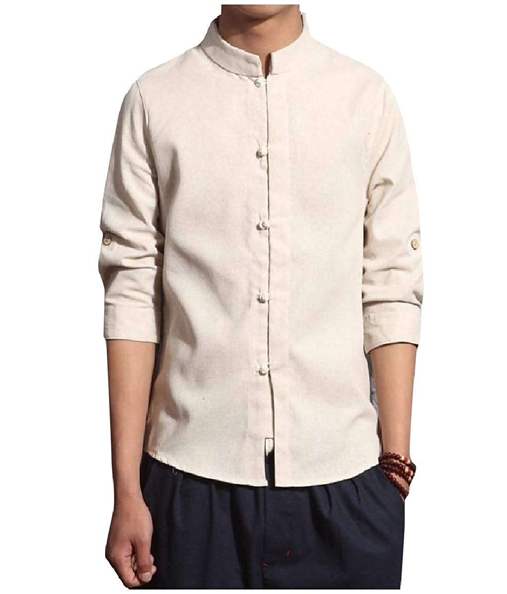 YUNY Mens Chinese Style Linen 3//4 Sleeve Back Cotton Western Shirt Beige M