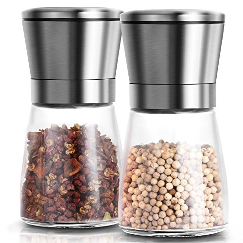 Adoric Salt and Pepper Grinders Set of 2, Brushed Stainless Steel Pepper and Salt Mill Shakers with Adjustable Ceramic Rotor for Himalayan Salt, Sea Salt, Pepper and More